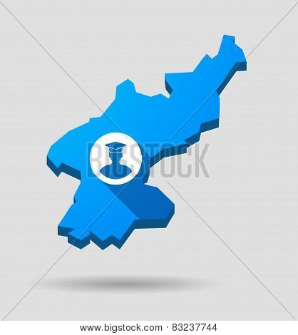 Blue North Korea Map With A Student