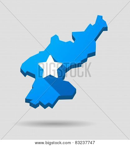 Blue North Korea Map With A Star