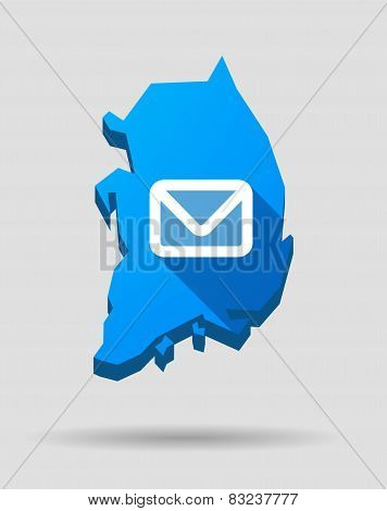 Blue South Korea Map With An Email Sign