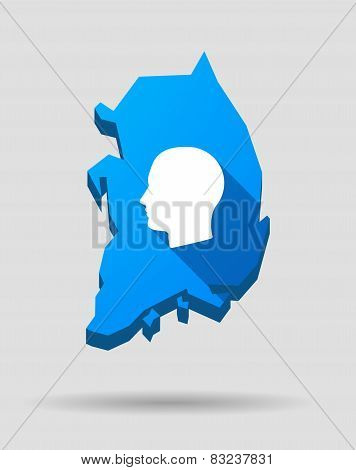 Blue South Korea Map With A Male Head