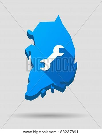 Blue South Korea Map With A Wrench