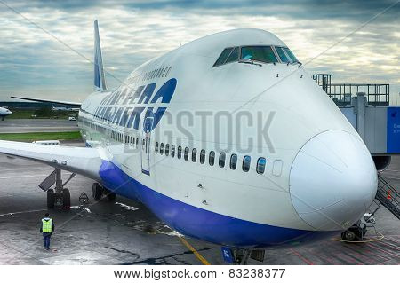 MOSCOW, RUSSIA - OCTOBER 02, 2010: Docked boeing-747 in Domodedovo airport. The Boeing 747 is a wide-body commercial airliner and cargo transport aircraft