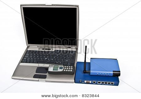Laptop And Firewall With Ethernet Switch And Phone On White