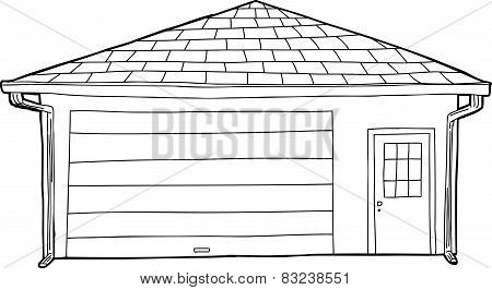 Outlined Single Garage With Door