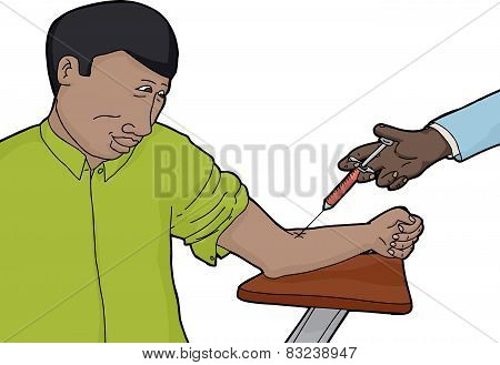 Happy Person Getting A Vaccine