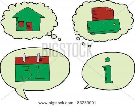 Isolated Information Symbol Cartoons