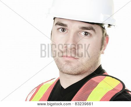 an experienced men carpenterin studio white background