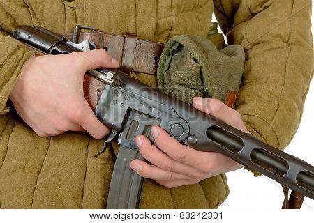Close-up On The Machine Gun Ppsh-41