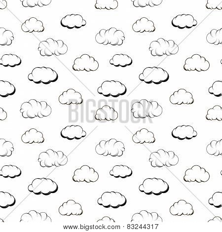 Retro hand engraving clouds on white seamless pattern