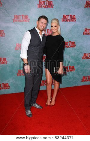 LOS ANGELES - FEB 18:  Mike Mizanin, aka The Miz, Maryse Ouellet at the