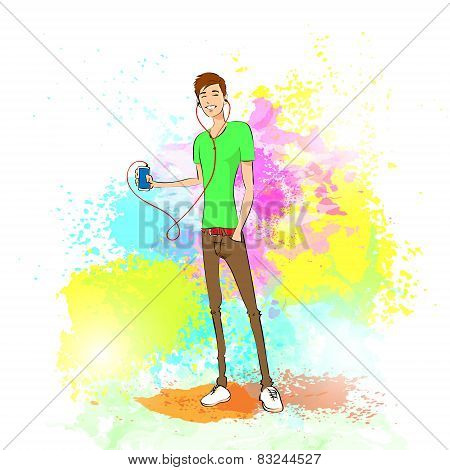 man listen to music hold player casual over colorful splash paint