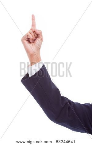 pointing businesswoman hand, isolated