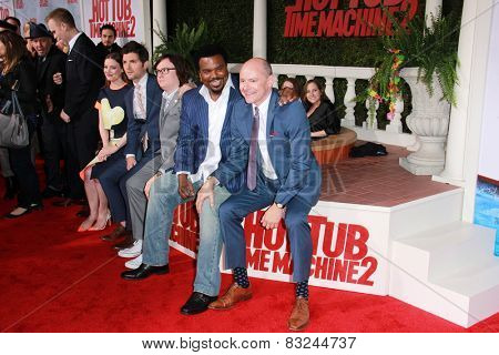 LOS ANGELES - FEB 18: Gillian Jacobs, Adam Scott, Clark Duke, Craig Robinson, Rob Corrdry at the