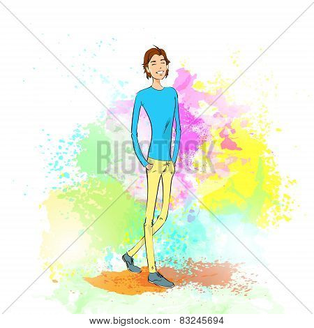 fashion casual young man over colorful paint splash