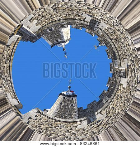 Conceptual view of the Tower of London, UK