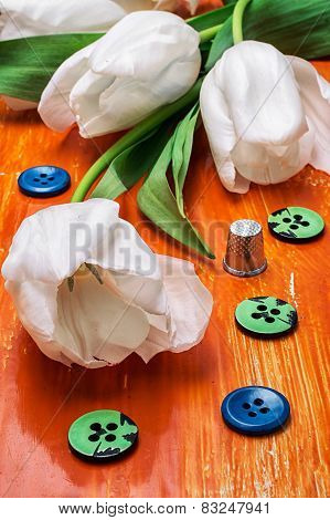 Tulip And Buttons With Thread