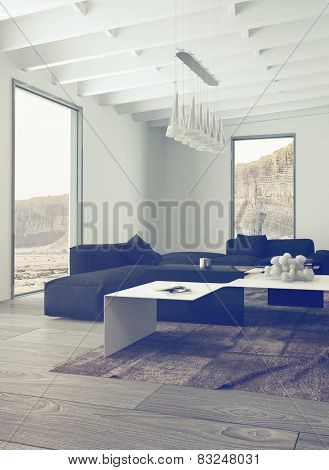 3D Rendering of Close up Illuminated Living Room with Elegant Black and White Furniture and Chandelier Hanging on the Ceiling.