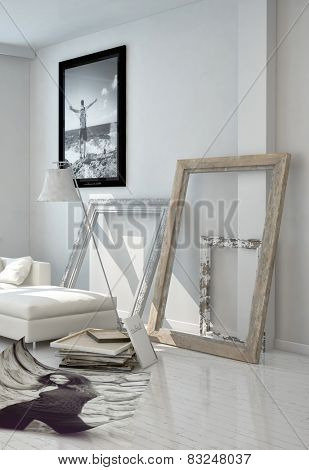 3D Rendering of Artistic Wooden Frame Borders Leaning on White Wall at the Living Room.