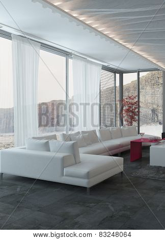 3D Rendering of Close up Elegant White Sofa Inside an Architectural Living Room with Glass Windows.