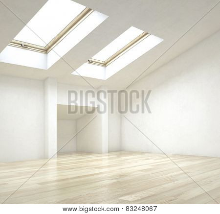 3D Rendering of Close up Empty Architectural Interior Design of a House with Artistic Ceiling Design