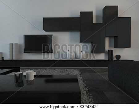3D Rendering of Close up Elegant Black and White Furniture and Appliances inside an Architectural Living Room.