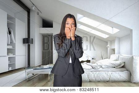Shocked Young Businesswoman in Black Corporate Attire Standing at the Bedroom with Wide Open Eyes and Hands on the Face. 3D Rendering