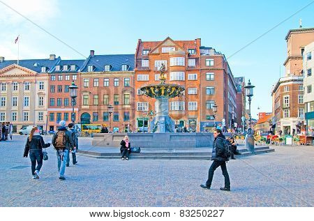 Denmark. Copenhagen. Gammeltorv and Caritas Fountain