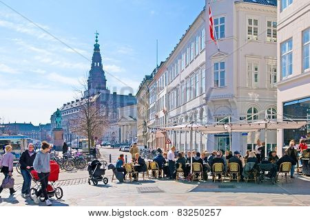 Denmark. Copenhagen. Open air cafe in the center of the city