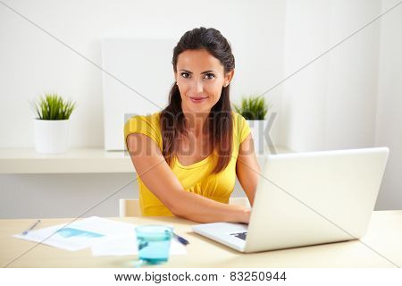 Pretty Female Working As A Receptionist In Company
