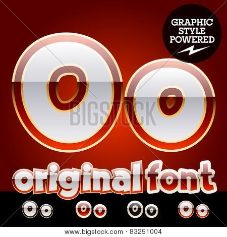 Vector set of original glossy white alphabet with gold border. Letter O