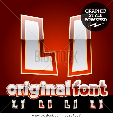 Vector set of original glossy white alphabet with gold border. Letter L