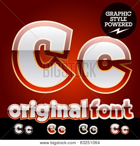 Vector set of original glossy white alphabet with gold border. Letter C