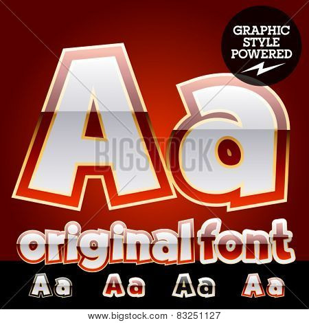 Vector set of original glossy white alphabet with gold border. Letter A