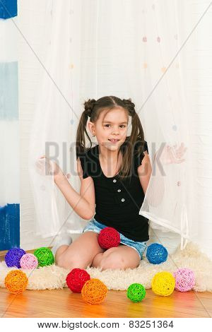 Girl With Multi-colored Balls