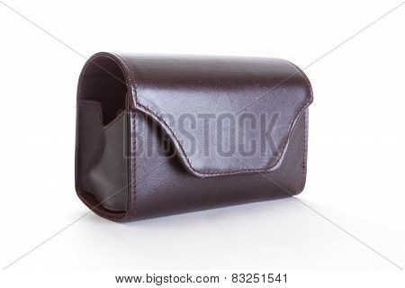 Camera case on white background