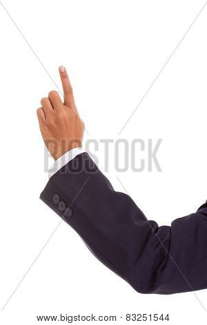 pointing businessman hand, isolated