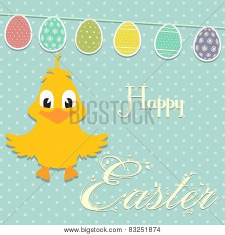 Easter Border Background With Chick And Bunting