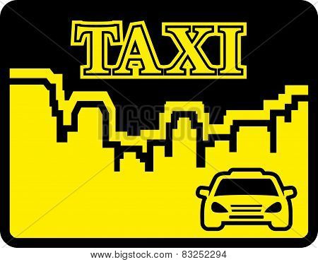 yellow taxi icon on flat design style