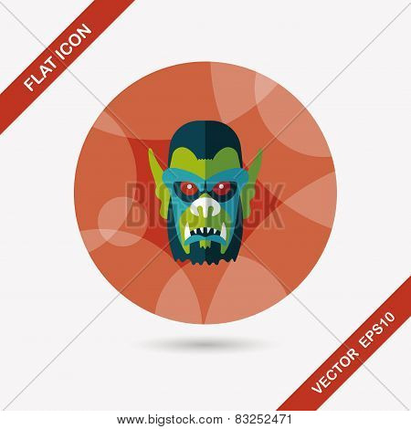 Halloween Devil Flat Icon With Long Shadow,eps10