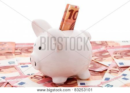 White Piggy Bank With Euro Bills