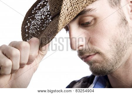 classic male cowboy portrait in front of a white background