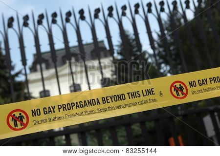 PRAGUE, CZECH REPUBLIC - SEPTEMBER 8, 2013: No gay propaganda beyond this line. Banner against the Russian anti gay laws in front of the Russian Embassy in Prague, Czech Republic.