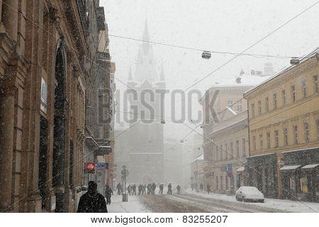 PRAGUE, CZECH REPUBLIC - FEBRUARY 23, 2013: Heavy snowfall covering the Jindrisska Tower in Prague, Czech Republic.