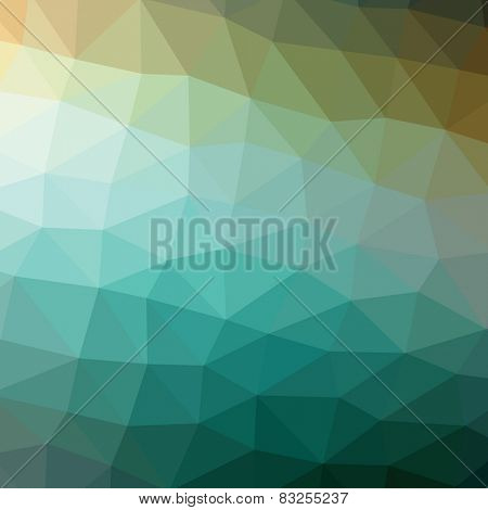 Geometric abstract dark green low-poly paper background. Vector  with transparency.