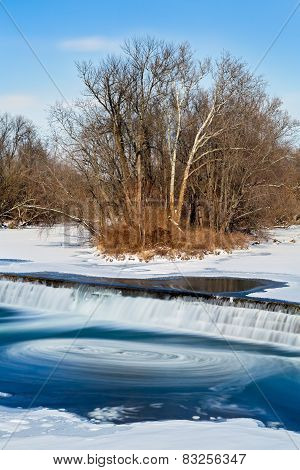 Icy Swirling Waterfall