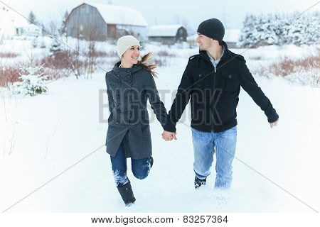 A Young Couple outside in the winter season
