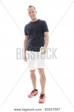 Portrait Of Young Man Jogging On White Background