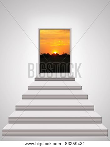 Stairs Leading Up To Landscape Of Sunset
