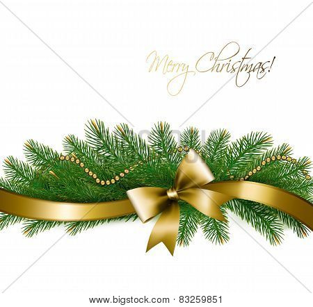 Christmas Background With Christmas Tree Branches And Gold Ribbon.