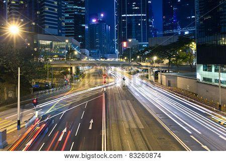 Central district at night, Hong Kong